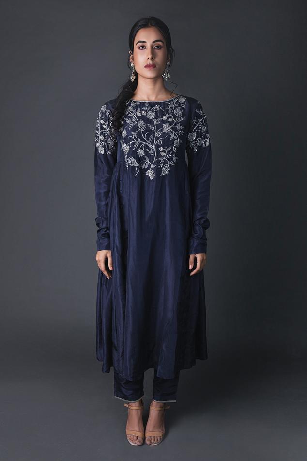 Silk Embroidered Anarkali & Pant Set