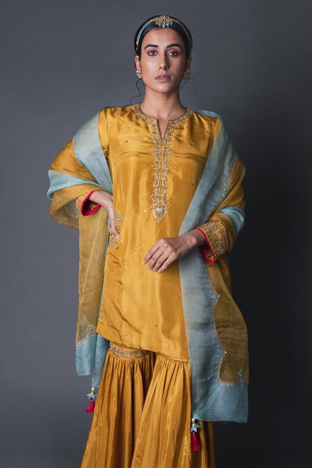 Silk Embroidered Kurta Set