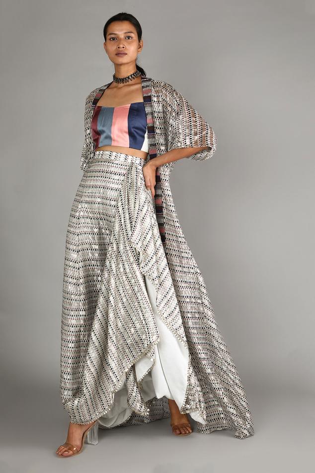 Chanderi Draped Skirt & Cape Set