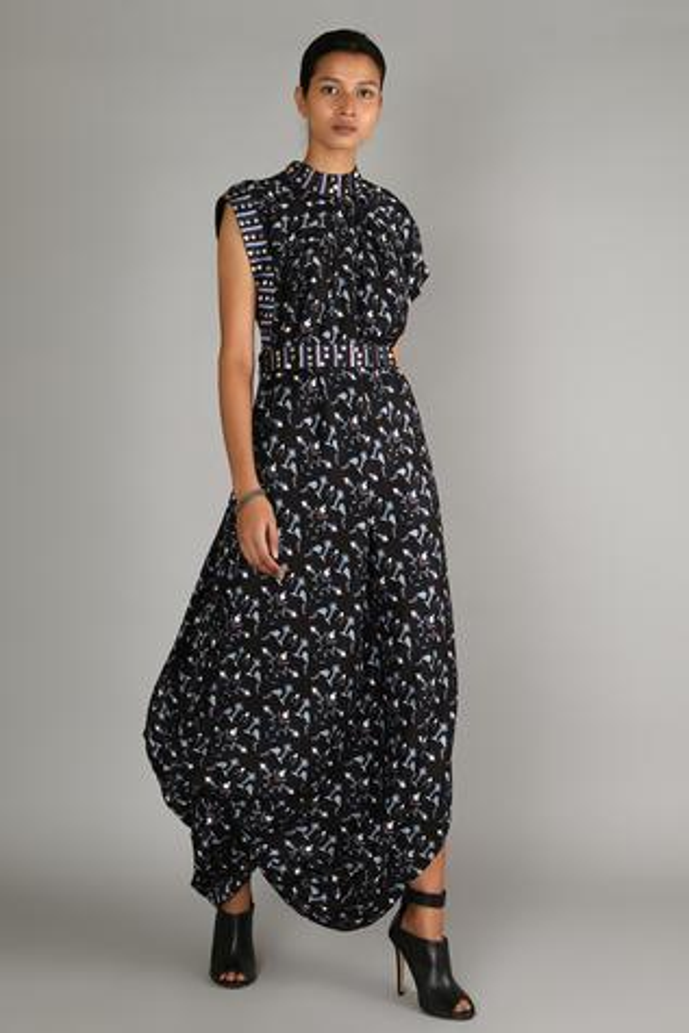 Draped Geometric Print Dress