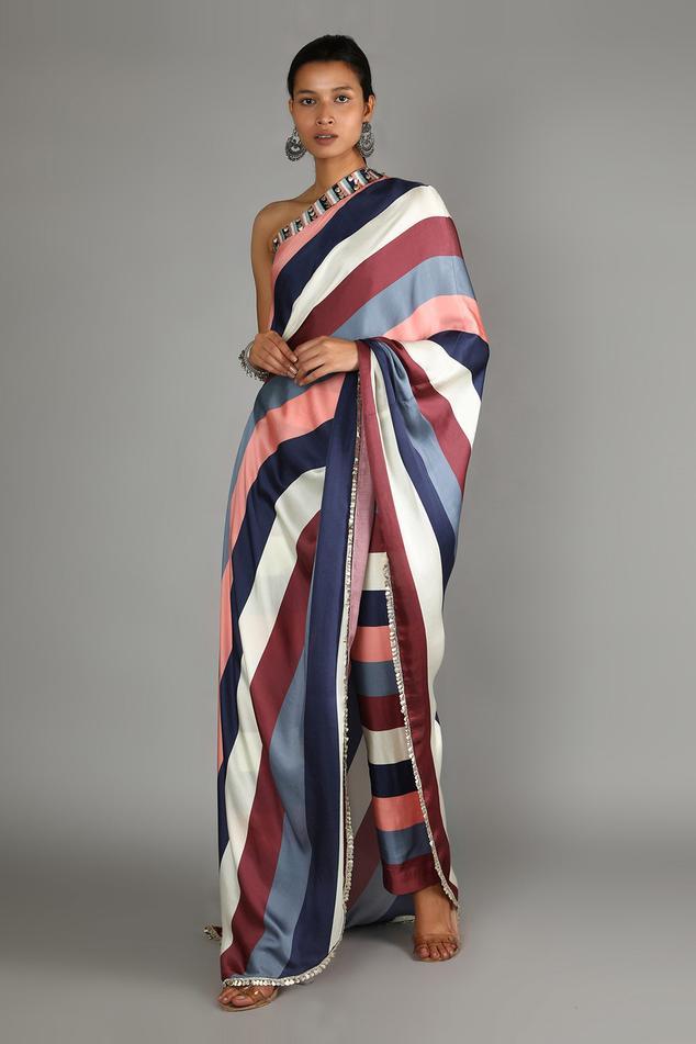 Satin Silk Draped One Shoulder Kurta & Pant Set
