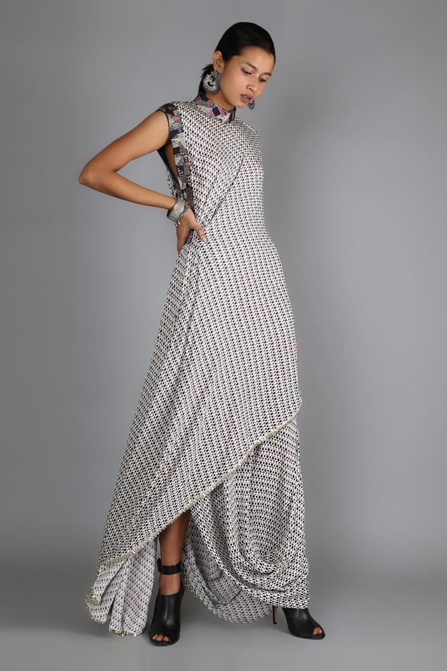 Printed Kurta & Draped Skirt Set