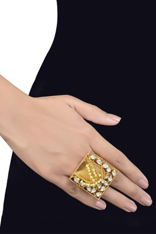 Geometric Bead Chain Two Finger Ring