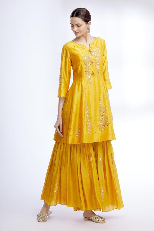 Silk Embroidered Anarkali & Sharara Set