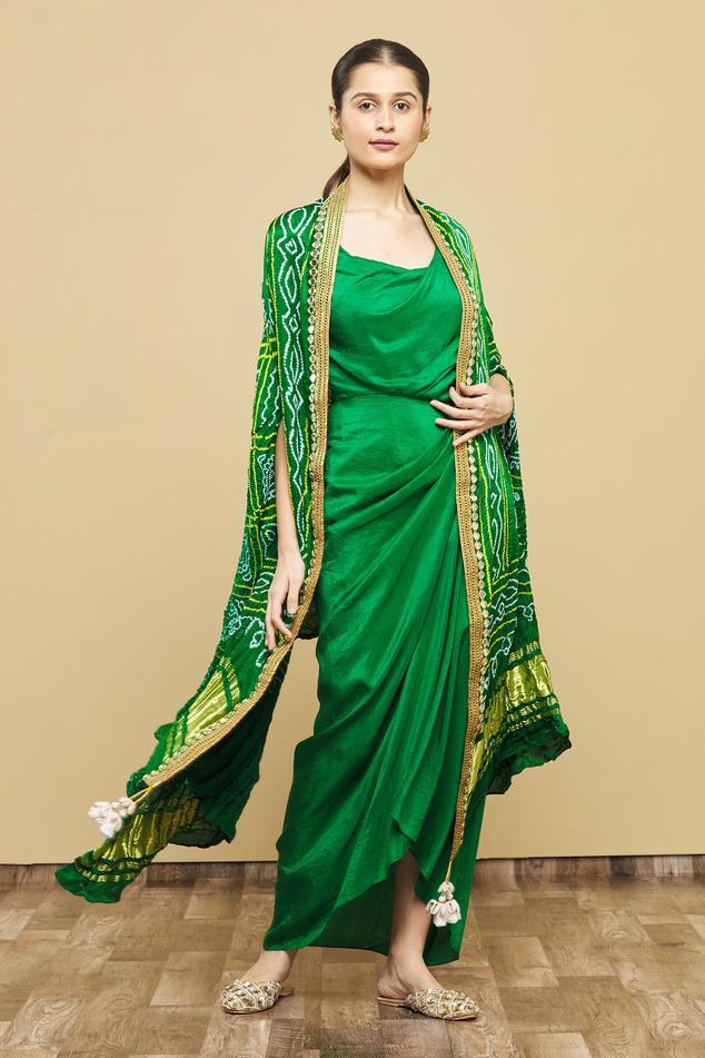 Silk Draped Dress with Bandhani Cape