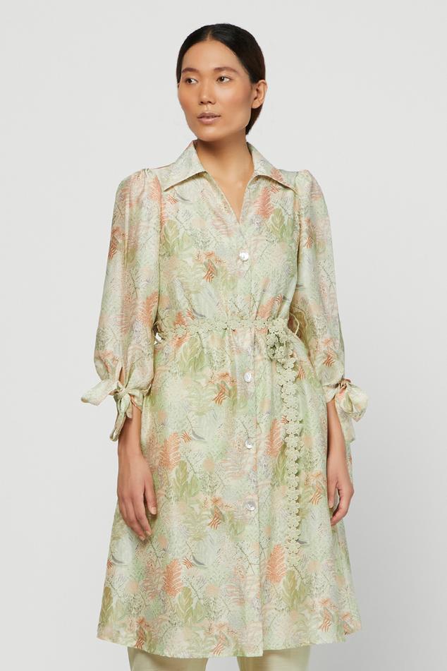 Silk Chanderi Printed Terra Shirt Dress