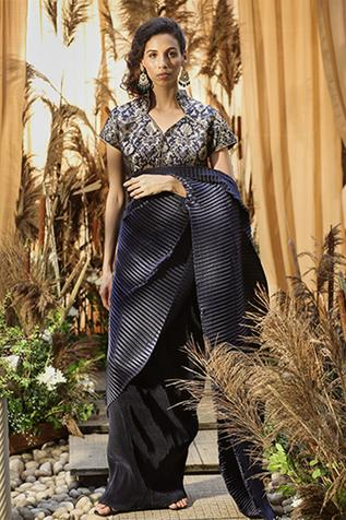 Pleated Pre-Stitched Saree with Blouse