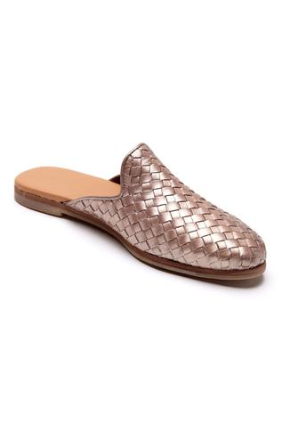 Metallic Textured Leather Mules