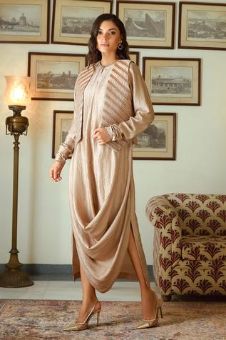 Draped Silk Dress with Embroidered Jacket