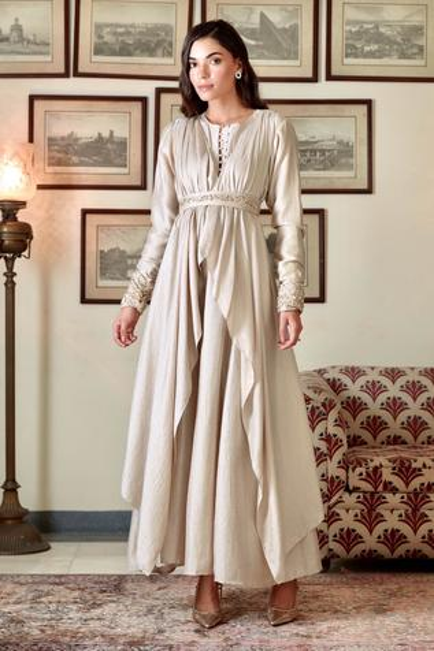 Layered Silk Maxi Dress