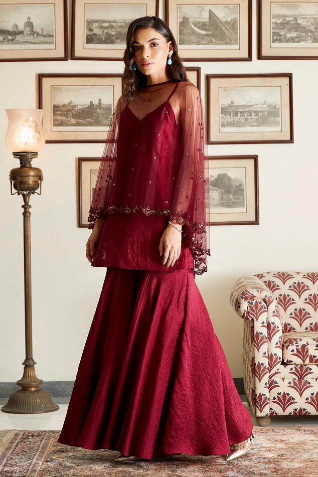 Silk Kurta Sharara Set with Embroidered Cape