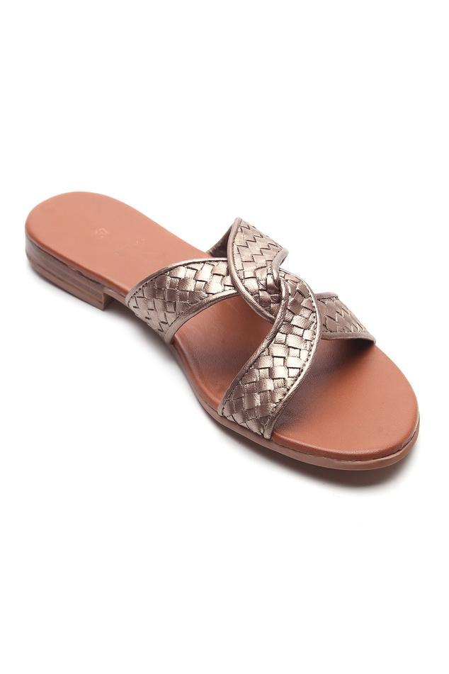 Leather Metallic Textured Strap Sandals