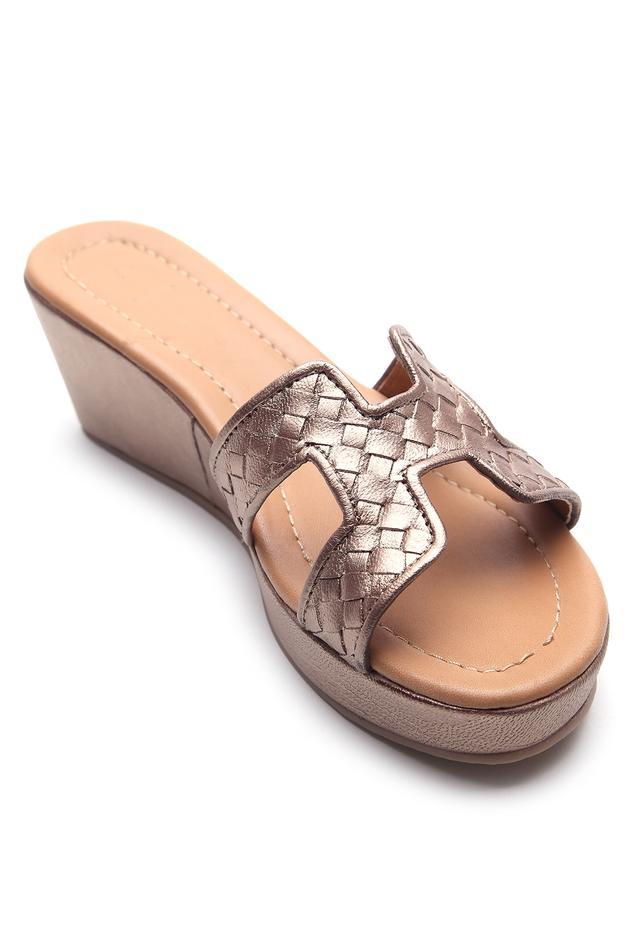 Metallic Textured Platform Wedges