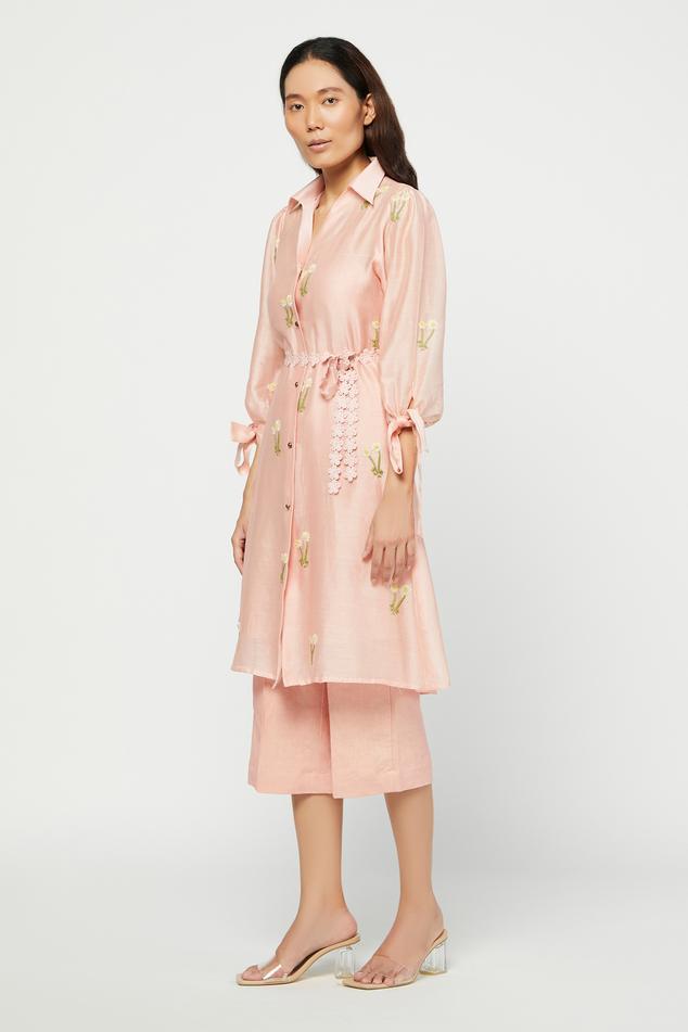 Silk Chanderi Tunic & Linen Pant Set
