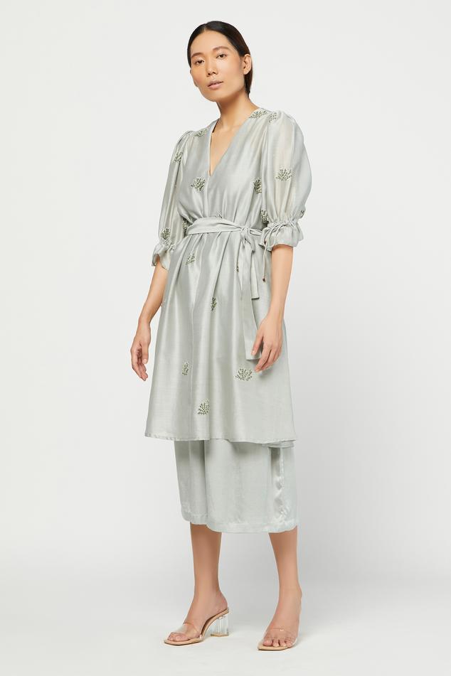 Silk Chanderi Tunic & Silk Cotton Satin Pant Set