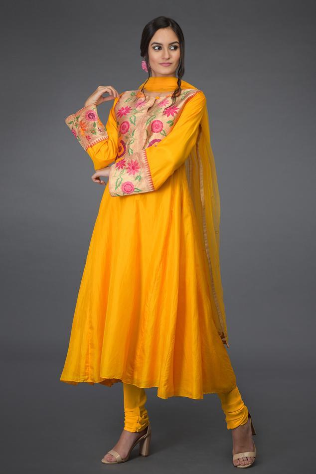 Silk Flared Kurta Set