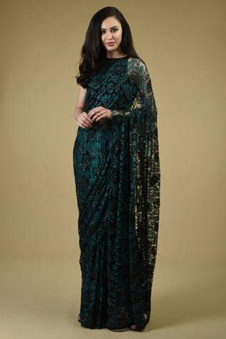 Floral Lace Saree with Unstitched Blouse Fabric