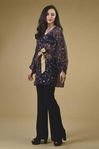 Embellished Silk Organza Cape with Pant