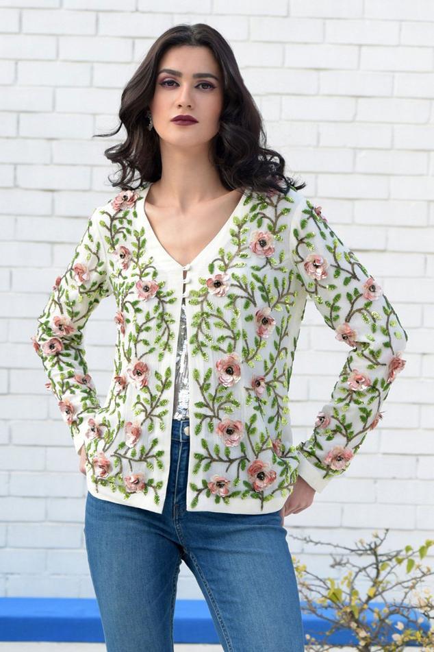 Pure Silk Chiffon Embroidered Jacket