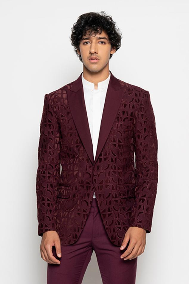 Textured Tuxedo & Pant Set