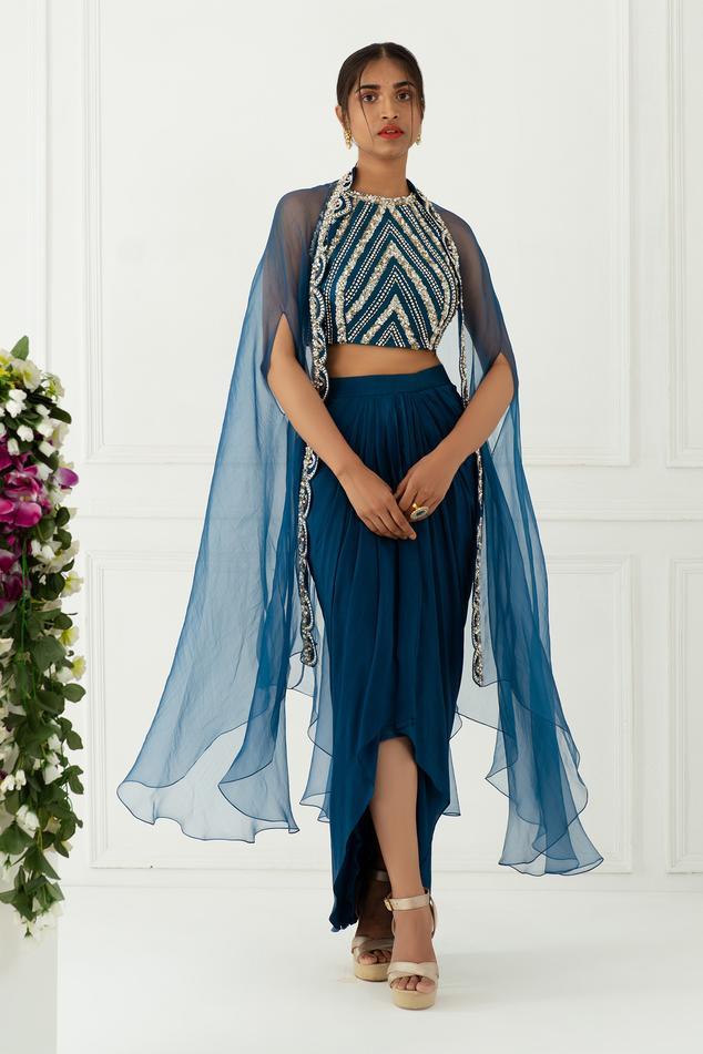 Embroidered Cape & Draped Skirt Set