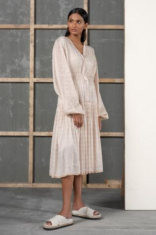 Handwoven Silk Linen Midi Dress
