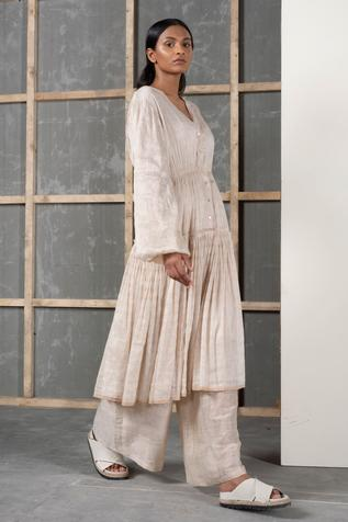 Handwoven Silk Linen Flared Pant