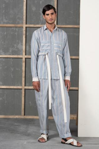 Handwoven Cotton Silk Striped Pant