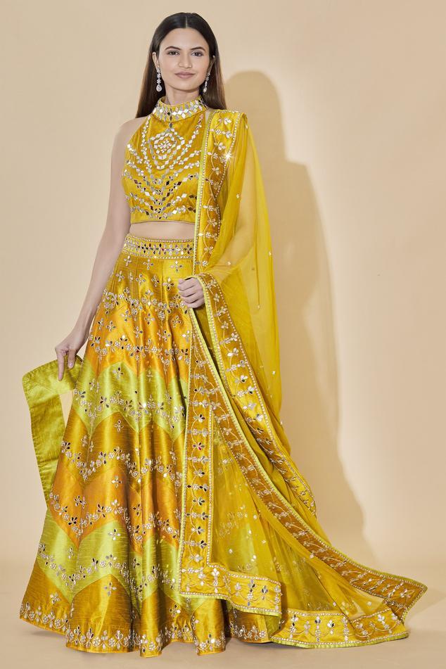 Embellished Raw Silk Lehenga Set