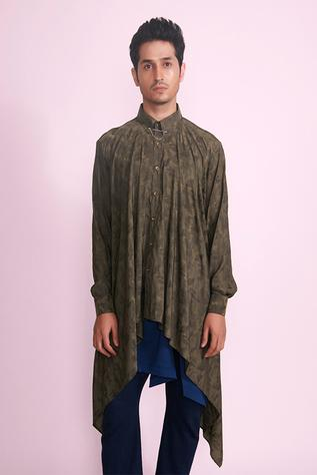 Draped Asymmetric Silk Shirt