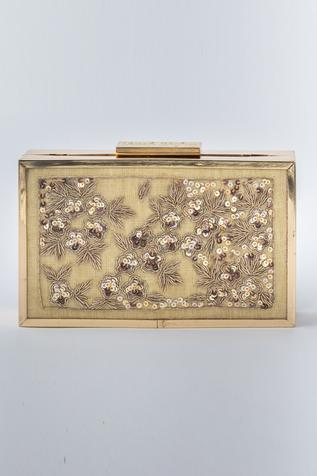 Embroidered Linen Box Clutch