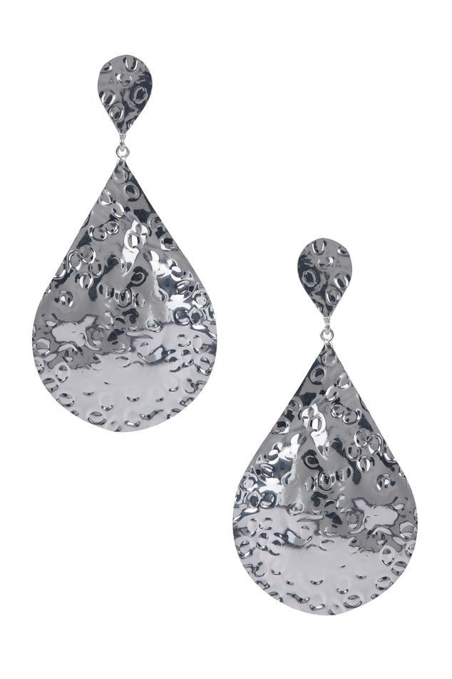 Teardrop beaten metal earrings