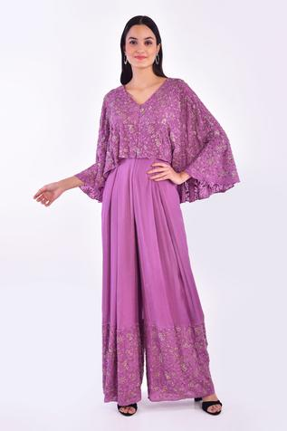 Floral Embroidered Cape Jumpsuit