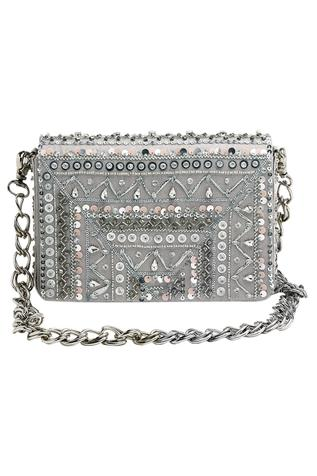 Rooh Embellished Suede Flap Clutch with Sling