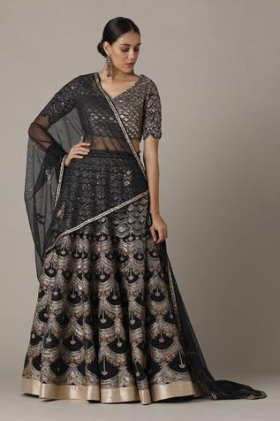 Silk Organza Embroidered Lehenga Set
