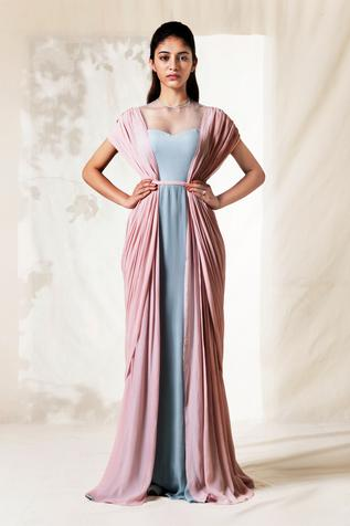 Colorblock Draped Gown