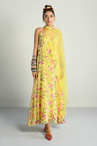 Floral Print Anarkali with Cape