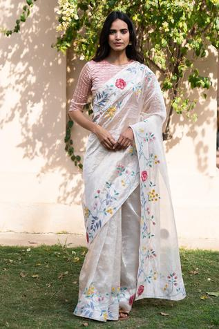 Tissue Floral Embroidered Saree