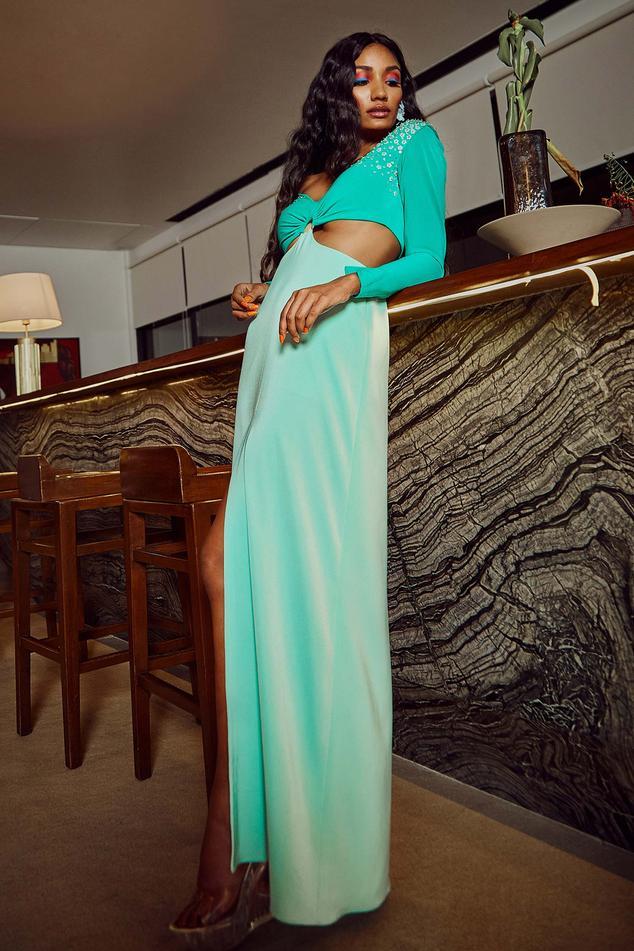 Colorblock Slit Gown