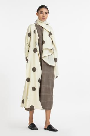 Checkered Dress with Printed Jacket & Scarf