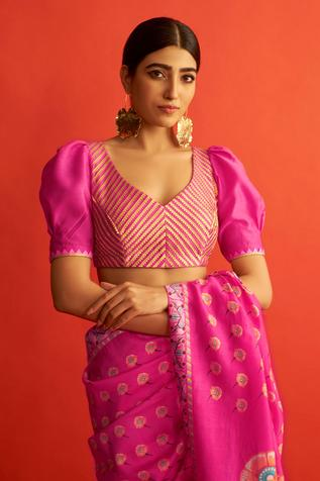 Handwoven Chanderi Saree Blouse