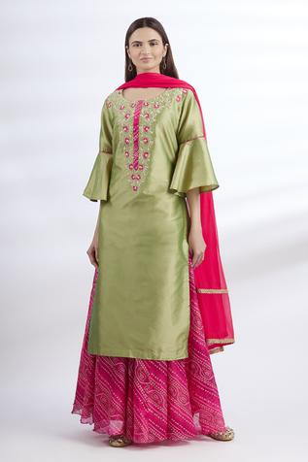 Embroidered Kurta & Skirt Set