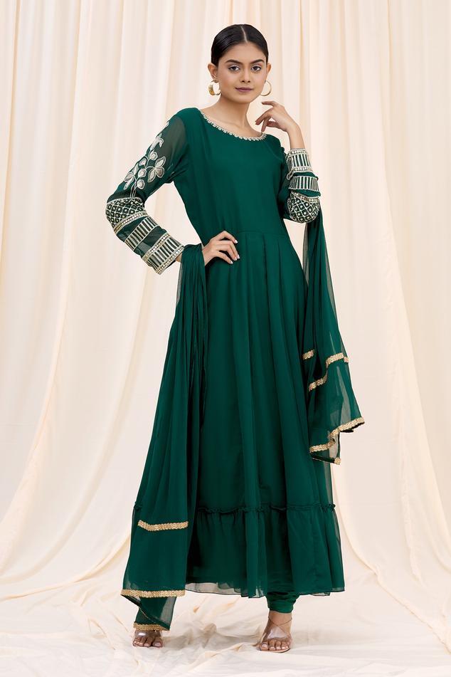 Embroidered Sleeve Anarkali Set