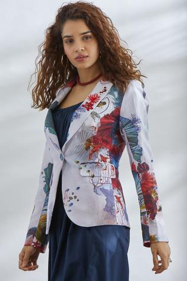 Cotton Linen Printed Jacket