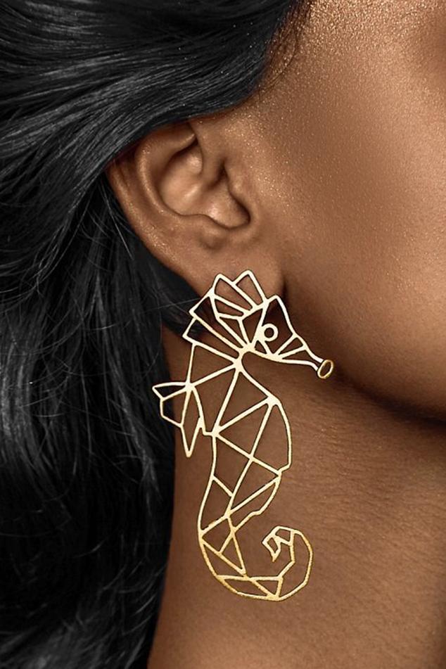 Sea Horse Carved Earrings