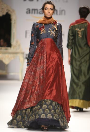 Deep grey embroidered ajrakh anarkali with printed skirt