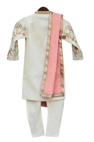 Embroidered Ajkan With Churidaar & Stole