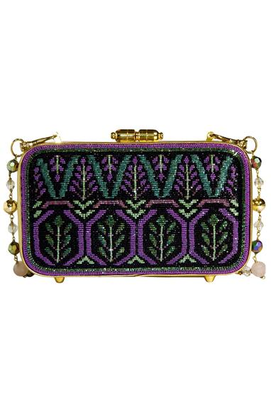 Glass Beads Embroidered  Rectangular  Metal Clasp Clutch
