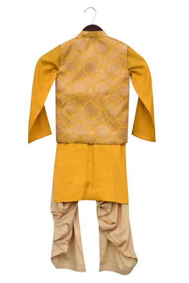 Cowl Draped Kurta With Jacket & Salwar