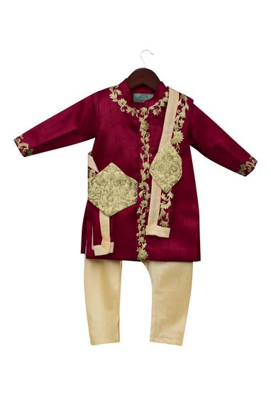 Embroidered Ajkan With Pants